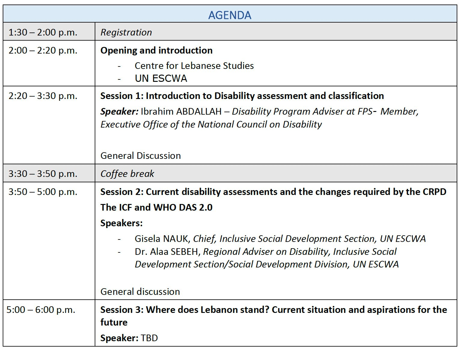 Agenda of Disability Assessment and Determination in Lebanon